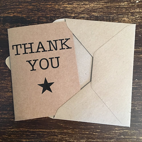 Thank you cards, Kraft, Black star