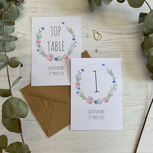 Daisy Cornflower Table Number Sign