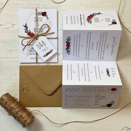 Winter Romance Folded Wedding Invitations - White