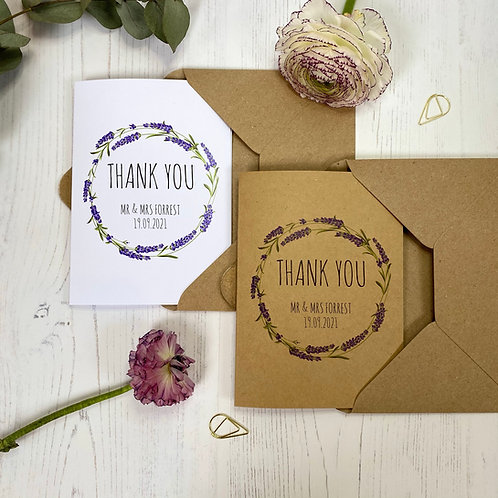 Lavender Personalised Wedding Thank you Cards (x10)