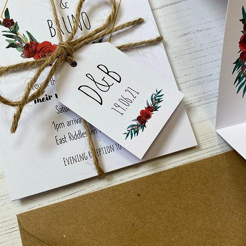Winter Romance Wedding Favour Tags - White