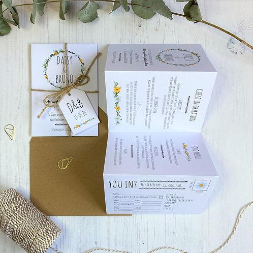 Daisy Wildflower Folded Wedding Invitations - White
