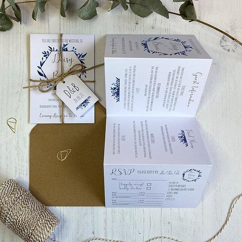 Blue Foliage Folded Wedding Invitations - White