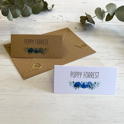 Dusty Blue Place Name Cards