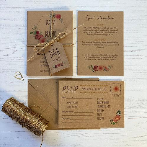 Floral Blush Wedding Invitations - Kraft