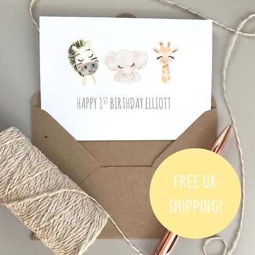Cute Animal Birthday Card - White