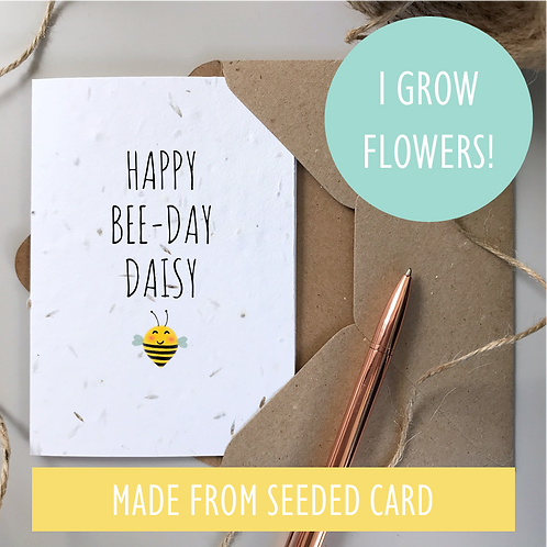 Happy Bee-Day Birthday Card - Seeded Card