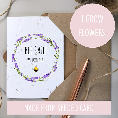 Bee Safe Lavender Card - Seeded