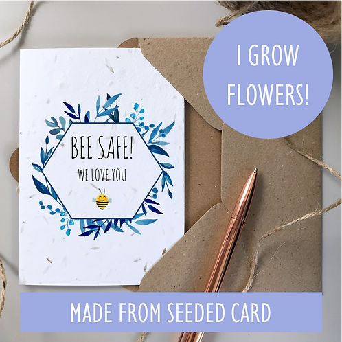 Bee Safe Card - Seeded