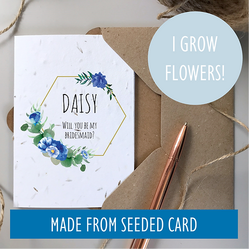 Bridesmaid Proposal Card - Blue Flower Seeded