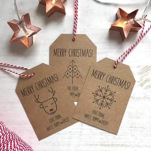 Personalised Scandi Christmas Gift Tags (x10)