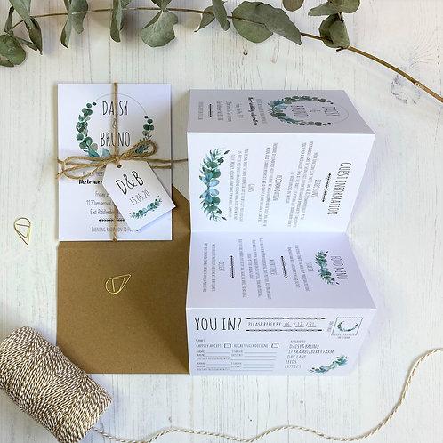 Eucalyptus Folded Wedding Invitations - White