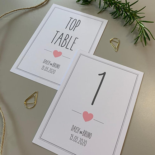 Pink and Grey Table Number Sign