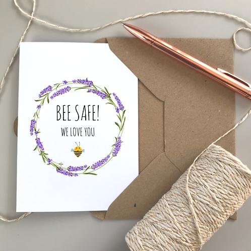 Bee Safe Lavender Card - White