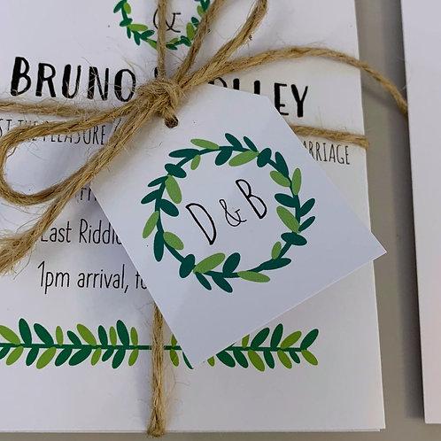 Foliage Wedding Favour Tags - White