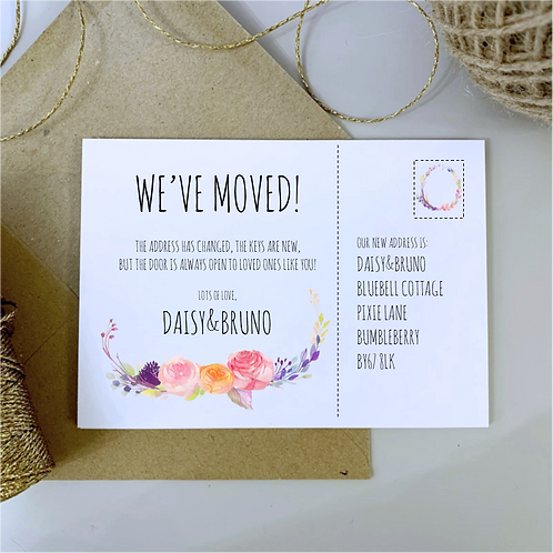 Boho We've Moved House / New Address Cards - White