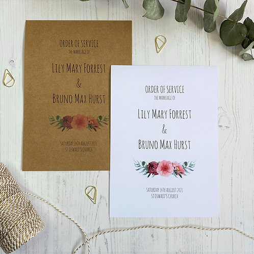 Floral Blush Order of  Service Booklets