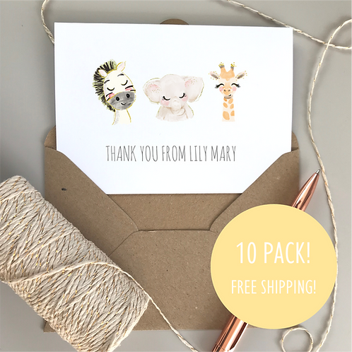 Baby Animal Thank You Cards (10 pack)