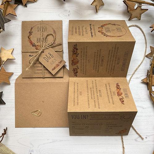 Pumpkin Folded Wedding Invitations - Kraft