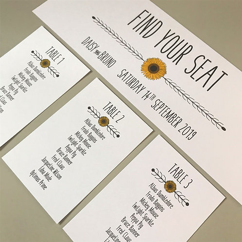 Sunflower Individual Table Plan Cards -White