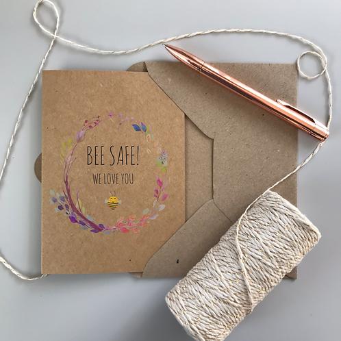 Bee Safe Boho Card - Kraft
