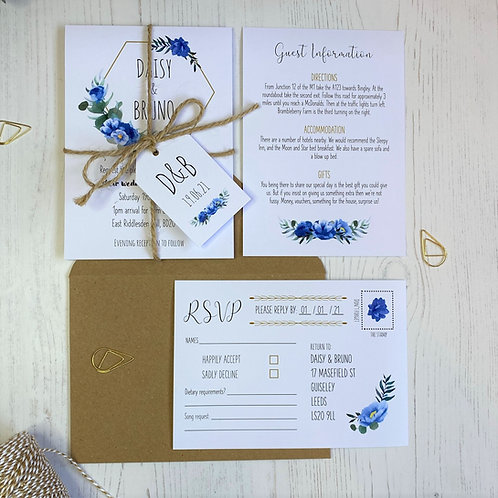 Dusty Blue Wedding Invitations - White