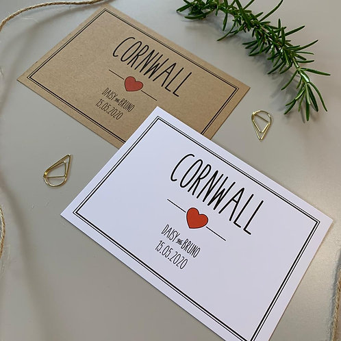 Rustic Heart Table Name Sign