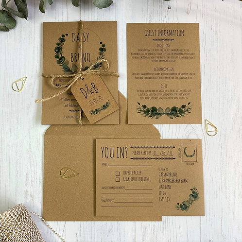Eucalyptus Wedding Invitations - Kraft