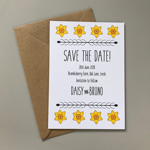 Daffodil Save the Date Cards, White