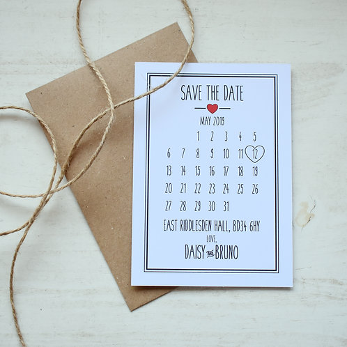 Rustic Heart Save the Date Cards, White