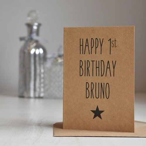 Personalised First Birthday Card, Star, Kraft