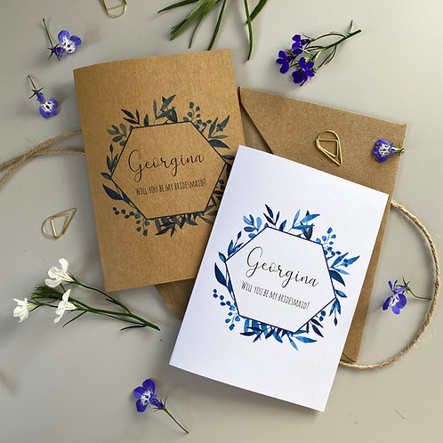Bridesmaid Proposal Card - Blue Foliage
