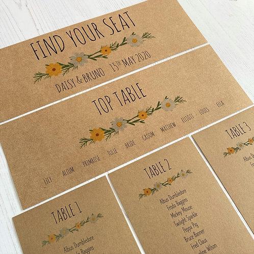 Daisy Wildflower Individual Table Plan Cards - Kraft