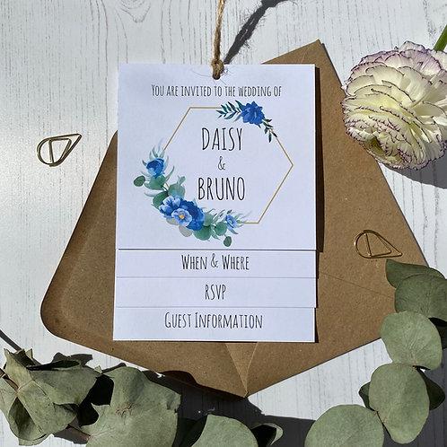 Dusty Blue Tiered Wedding Invites -White