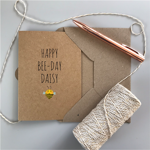 Happy Bee-Day Birthday Card - Kraft