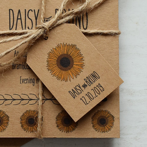 Sunflower Wedding Favour Tags - Kraft