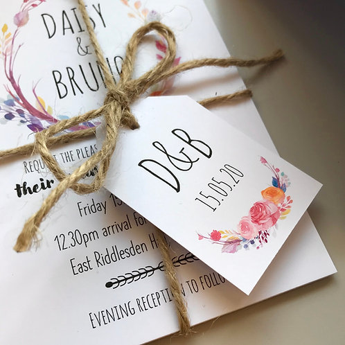 Boho Flower Wedding Favour Tags - White