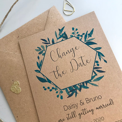 Blue Foliage Change the Date Cards - Kraft