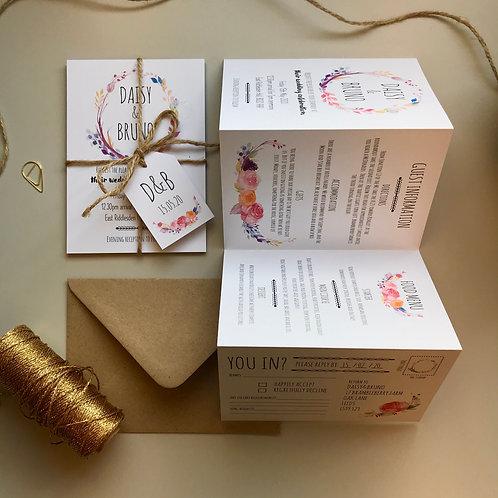Boho Flower Folded Wedding Invitations - White