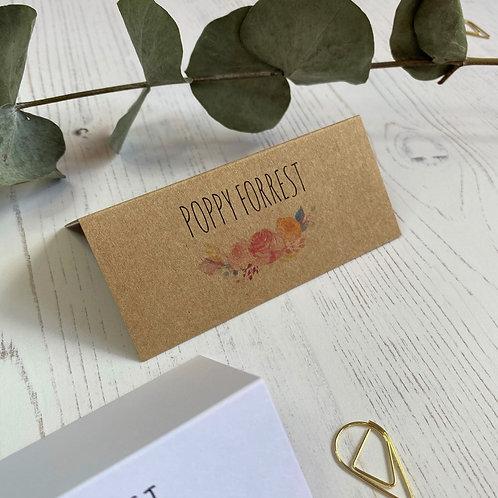 Boho Flower Place Name Cards - Kraft