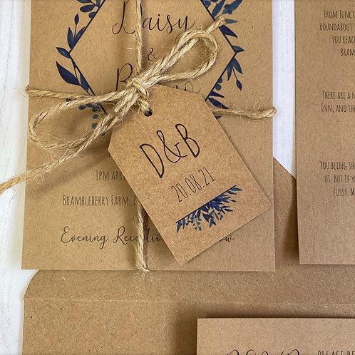 Blue Foliage Wedding Favour Tags - Kraft