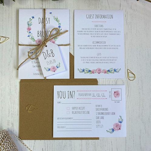 Daisy Cornflower Wedding Invitations - White