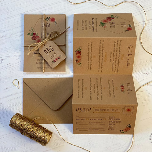 Floral Blush Folded Wedding Invitations - Kraft