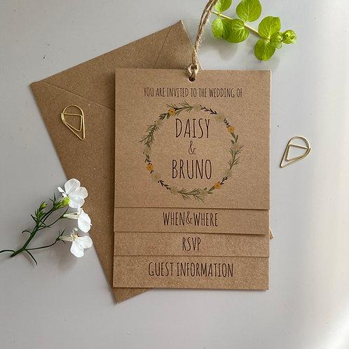 Daisy Tiered Wedding Invites - Kraft