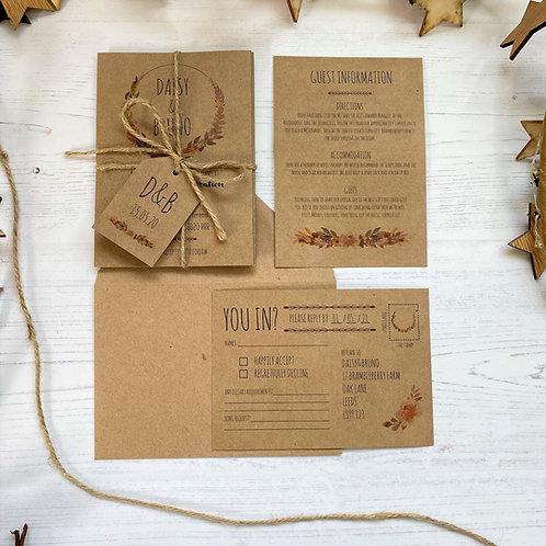 Autumn Boho Wedding Invitations - Kraft