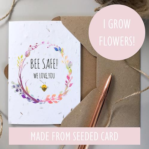 Bee Safe Boho Card - Seeded