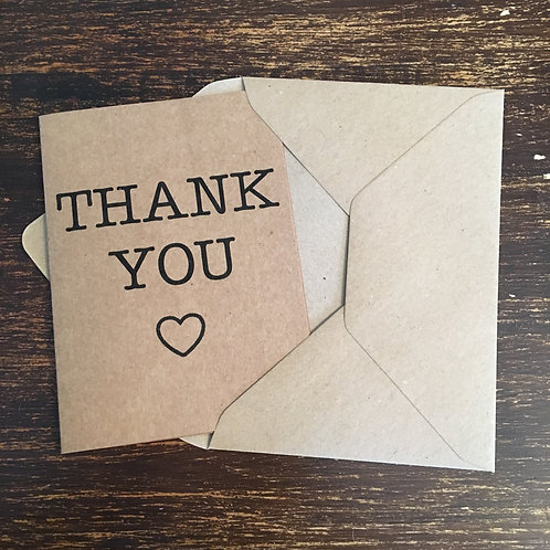 Thank you cards, Kraft, Heart outline