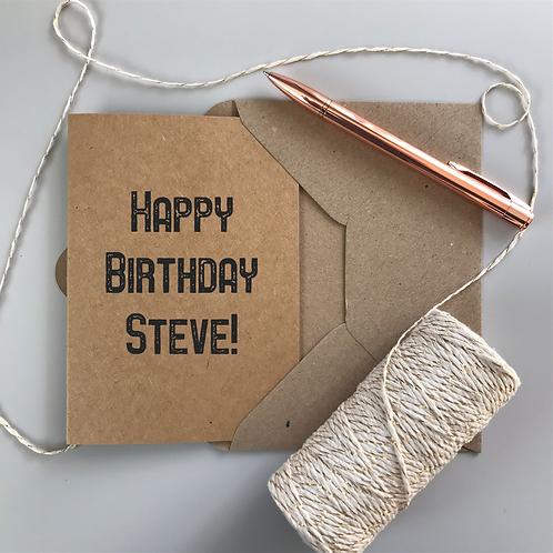 Retro Men's Birthday Card - Kraft