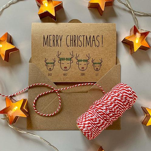 Personalised Reindeer Wreath Family Christmas Cards - Kraft
