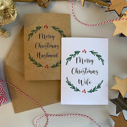 Husband / Wife Christmas Card - Wreath Design